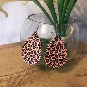 🆕 Faux Leather Animal Print Teardrop Earrings